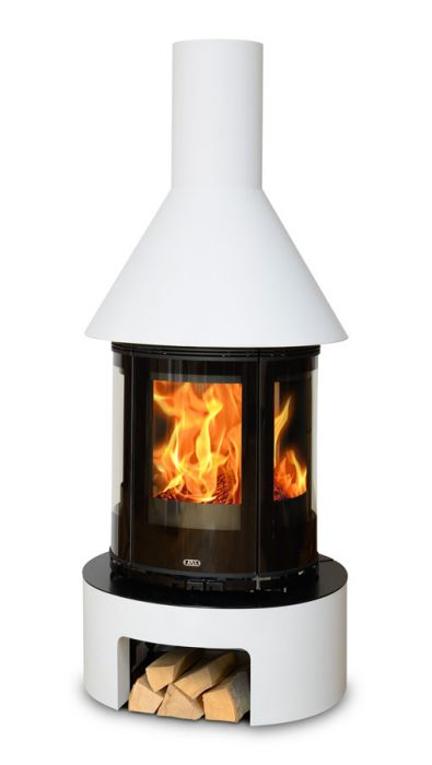 Vermont 5kw Freestanding Wood Stove With Stone Effect Base And Chimney