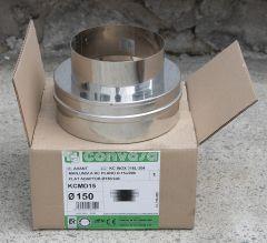 Flat adapter KC Convesa Twin wall chimney 150mm internal Stainless (200mm external)