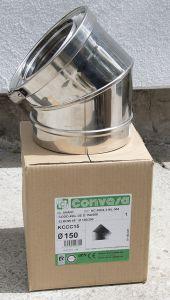 45 Elbow KC Convesa Twin wall chimney 150mm internal Stainless (200mm external)
