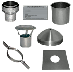 "5"" flue pipe to 6"" Flue Liner Installation Pack - no chimney pot used"