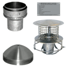 "5"" flue pipe to 6"" Flue Liner Installation Pack - hang from the top of the clay chimney pot"