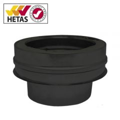 Flat Adapter: 150mm Flue Pipe to 150mm Twin Wall - Black