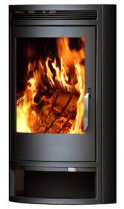 greymetal arctis 8 wood burner in black with fire