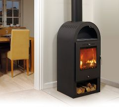 Asgard 4 contemporary modern wood burning stove arched top
