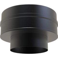 Flat increaser adapter: 125mm Flue Pipe to 150mm Twin Wall - Black