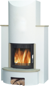 'Derby' Fireplace Set with 7kW Inset Wood Burning Stove - Sandstone