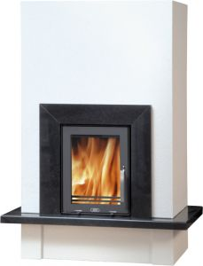 Puris fireplace set with 7kw inset wood burning stove