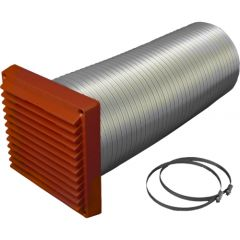 100mm Direct Ventilation Kit 6x6 Louvre Grill - Terracotta