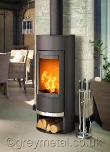 Vigo round black 6kw contemporary curved wood burning stove