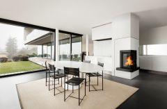Pateo corner fireplace set with 8kw inset wood burning stove